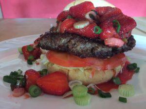 Erdbeeren auf Burger